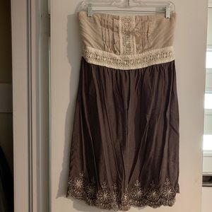 Mine strapless dress in cream and grey, size L